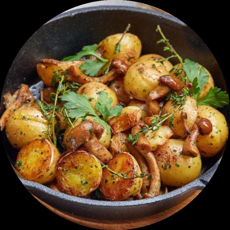 Чесночный картофель с грибами