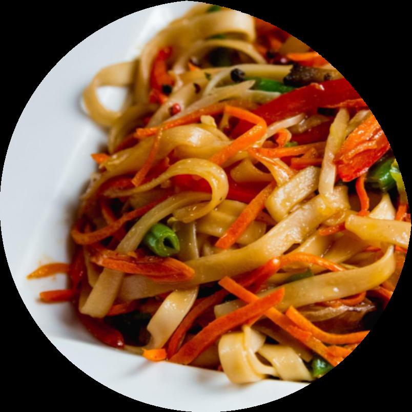 Лапша с овощами в соусе терияки