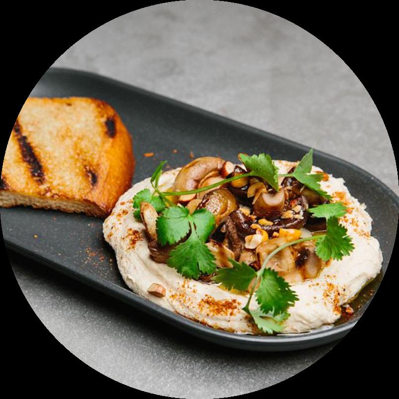 Конопляный хумус с шампиньонами гриль