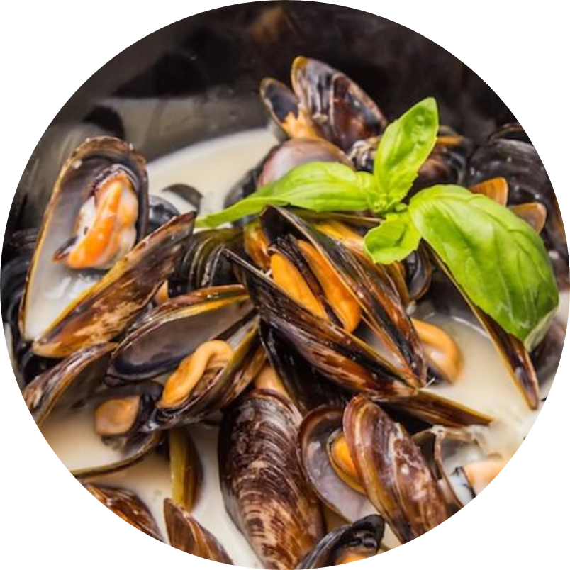 Stewed in white wine and root mussels
