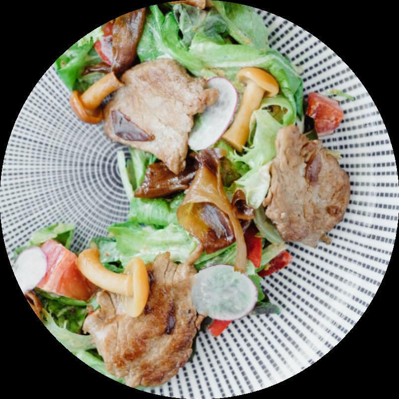 salad with ginger pork