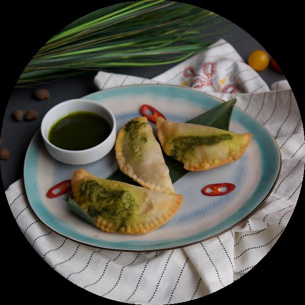Empanadas with chimichurri sauce