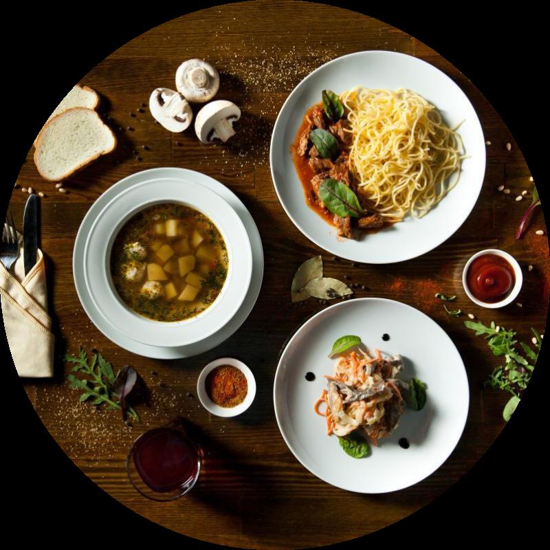 Европейский из 2-х блюд (salad + soup)