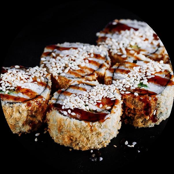 Warm roll with chicken teriyaki