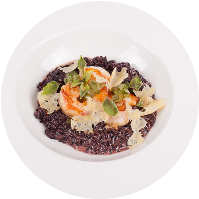 risotto Venere with tiger shrimps