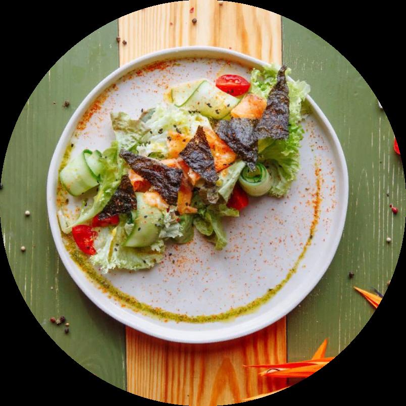 Салат с солёным лососем