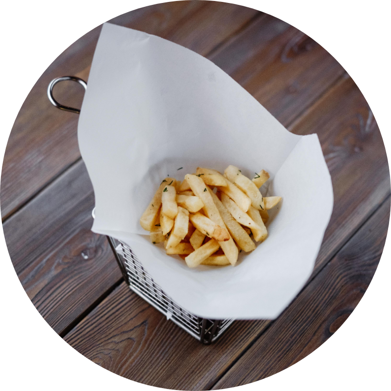 French fries with Cole slow salad