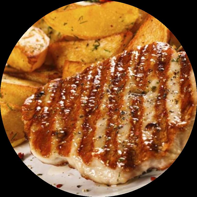 Grilled pork neck with adjika sauce and vegetables