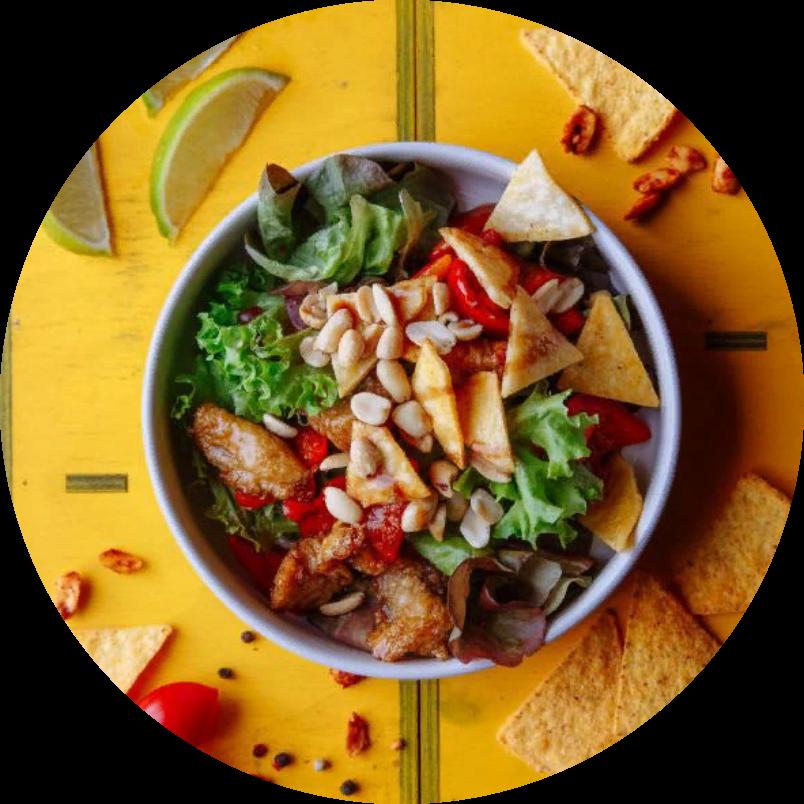 Warm salad with tender chicken fillet