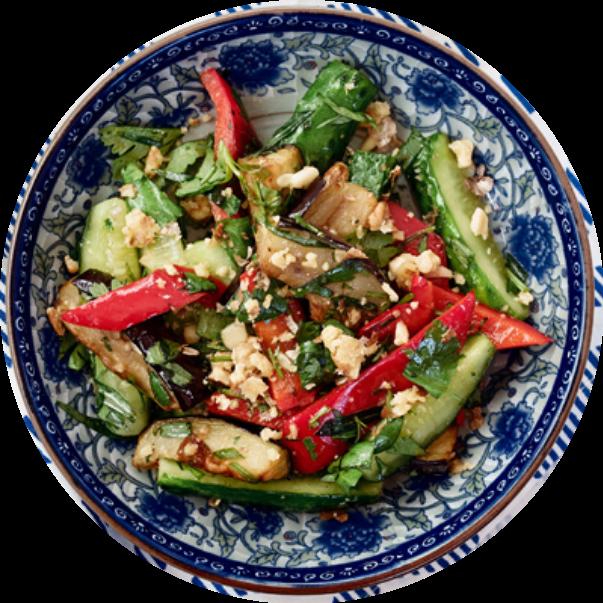 Oriental style salad with eggplants
