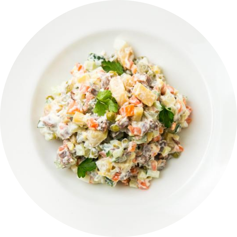 Russian salad with veal cheeks and crayfish meat