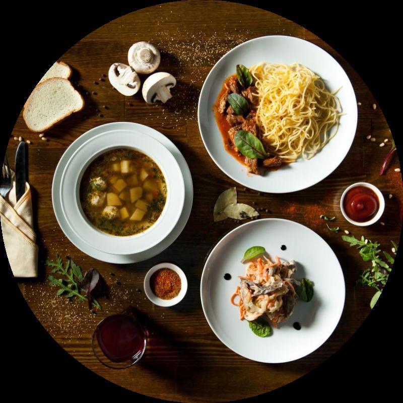 Европейский из 2-х блюд (горячее + soup)