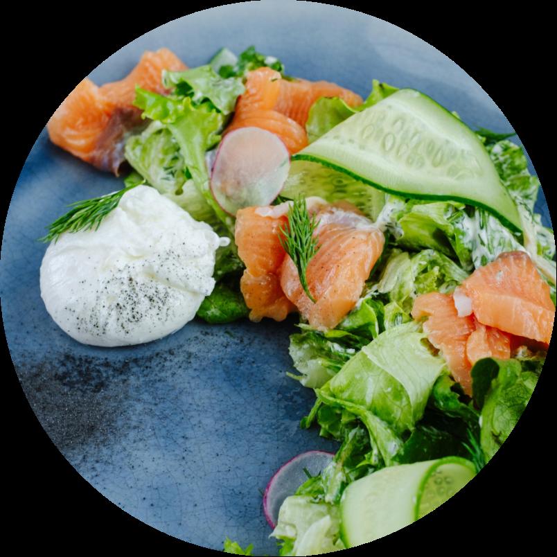 Salad with light-salted salmon