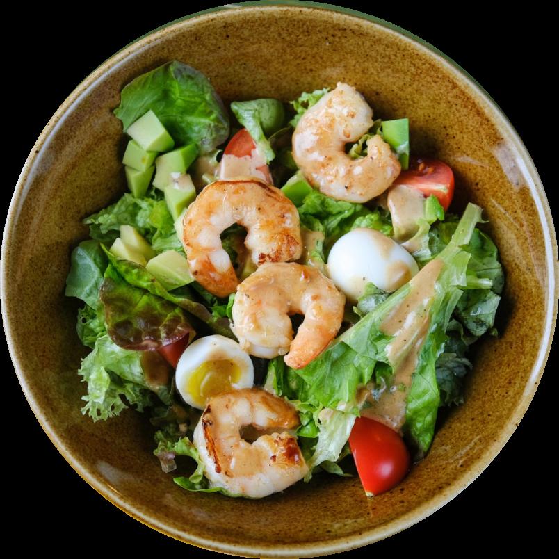 Avocado grill salad with shrimps